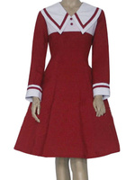 Free Shipping Chobits Chii Halloween Cosplay Costume Red School Girl Costume