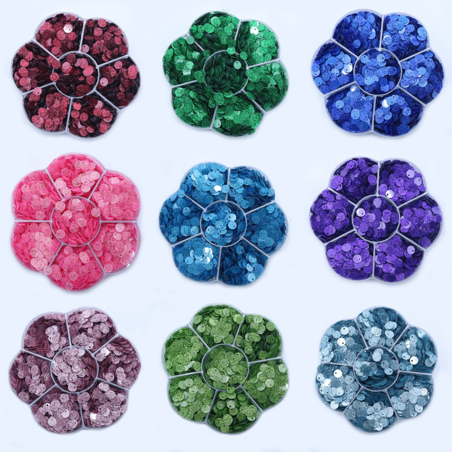 15g/bag Glitter Sequin 6mm One Hole Flat Round PVC Loose Sequins for Crafts Paillette Sewing Decoration DIY Accessory Lentejuela