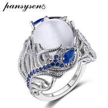 PANSYSEN Top Quality Created Moonstone Sapphire Rings Luxury Silver 925 Jewelry Ring Vintage Gemstone Fine For Women Men