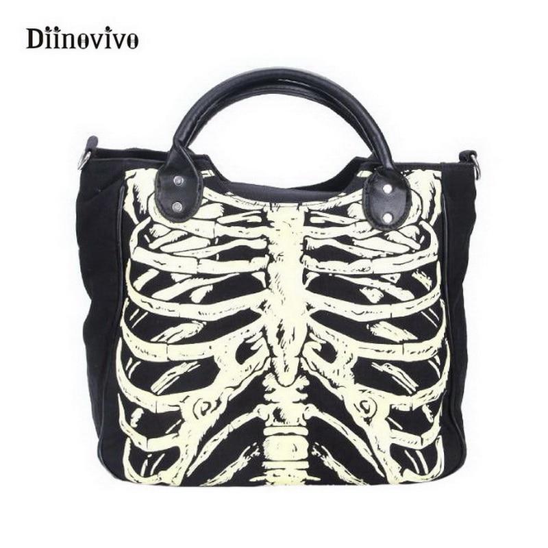 DIINOVIVO Fashion Handbag Skulls-Bags Bones Gothic Totes Women Rock-Designer Casual WHDV0244