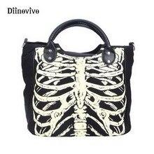 Diinovivo luminosa esqueleto gótico ossos sacos de crânios rock designer feminino casual totes sacos do punk moda bolsa whdv0244