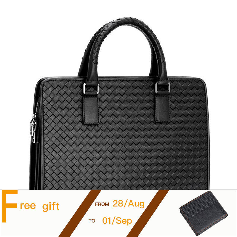 Top Grade Natural Cowhide Men Briefcase Handmade Weave Leather Business Handbag Fit For 14 Inch Laptop Bag PR581056 top layer genuine cowhide coffee classic men s leather briefcase business handbag fit for 15 laptop bag pr577247b 1