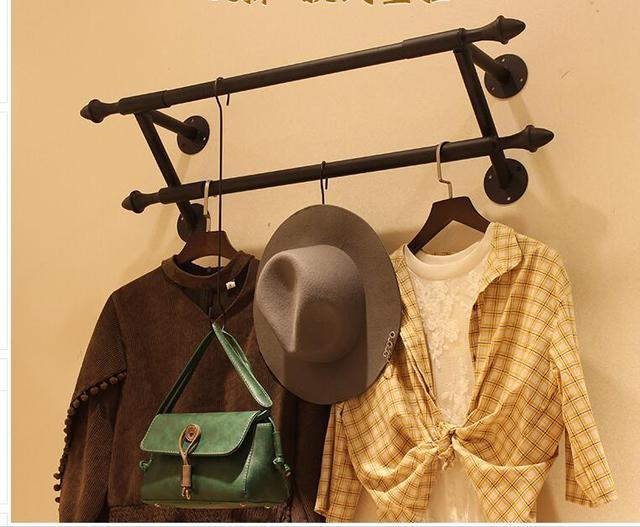 Iron Art Clothing Display Rack Wall Double Hanging Hang Hook Decoration Originality1122