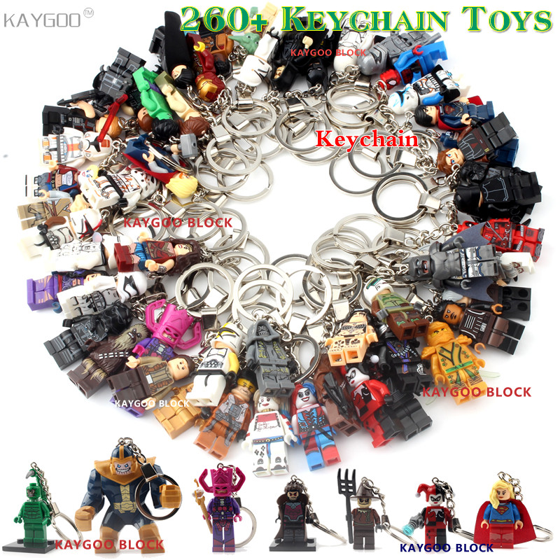 Super Hero Iron Man Figure Keychain Batman Deadpool Thor Captain America Black Panther Building Block Toys Brick Model DIY Toys(China)