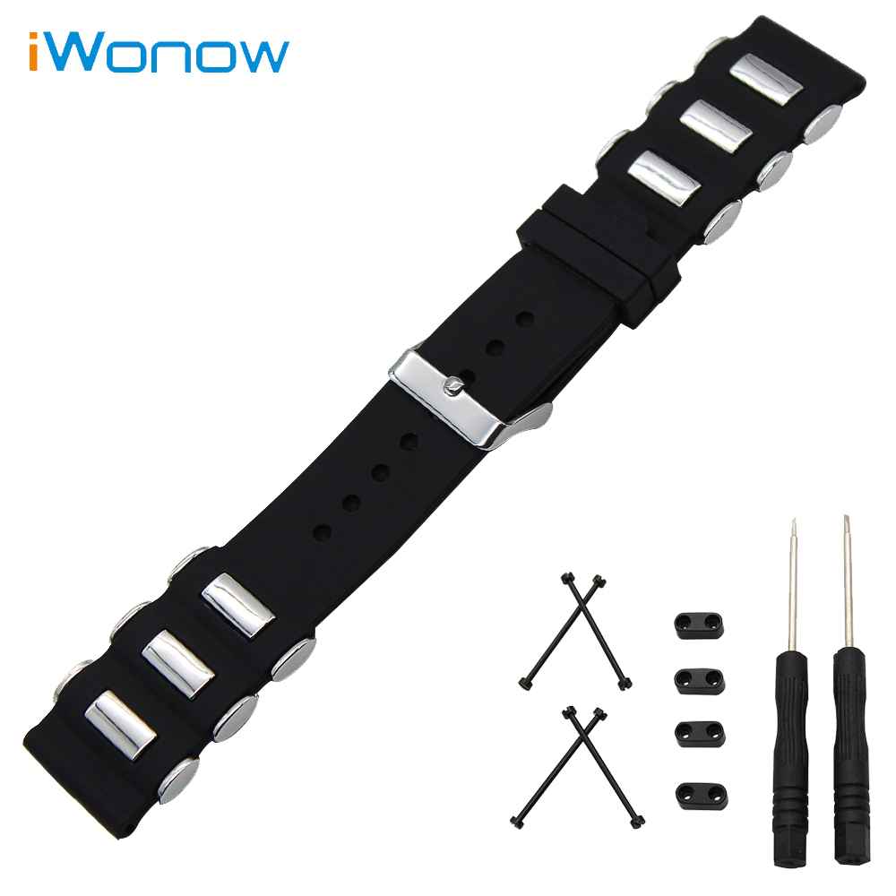 Silicone Watch Band 24mm for Suunto Core Stainless Steel Buckle Strap Rubber Wrist Belt Bracelet Black + Tool + Lug Adapter stainless steel watch band 24mm for suunto core safety clasp strap loop wrist belt bracelet black rose gold silver tool