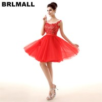 274e5c5552fa7 BRLMALL 2017 Short Red Homecoming Dresses Party Gown Lace Pearls Backless  Prom Dress Tulle Cute Mini