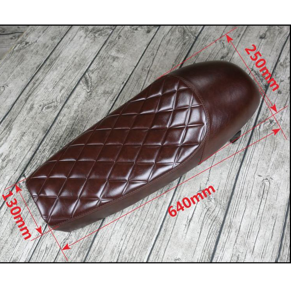 1PC Vintage Hump Motorcycle Custom Cafe Racer Seat Brown PU Leather Saddle For Universal Retro Motorbike