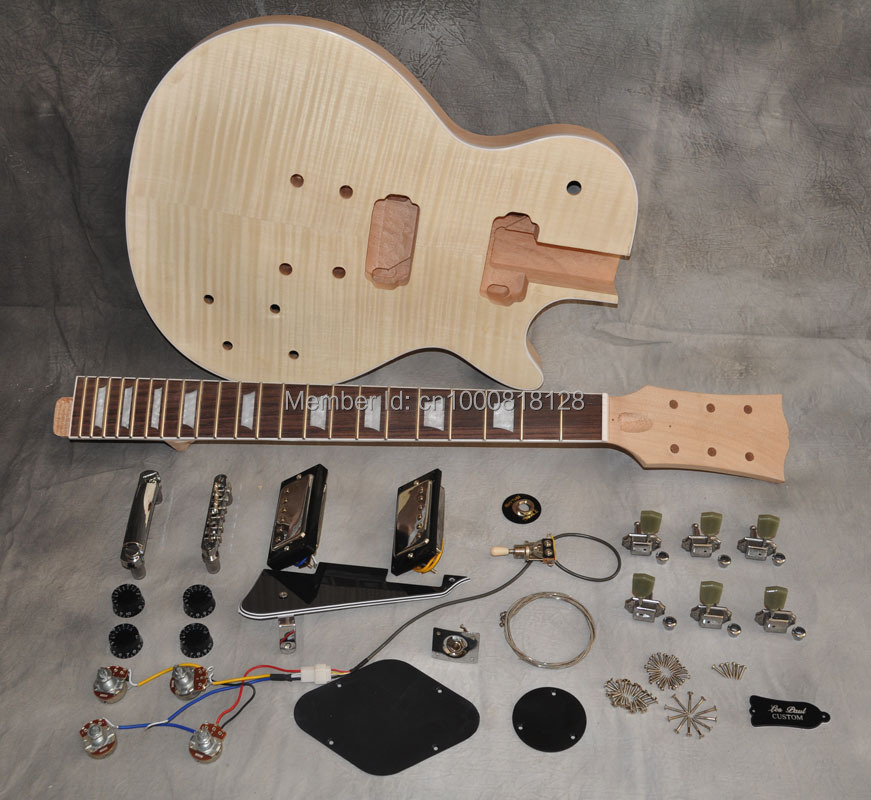 DIY Electric Guitar Kit LP One Piece Mahogany Body And Neck Guitarra Tiger Flame Maple Top Rosewood Fingerboard 22 Fret slip-on shoe