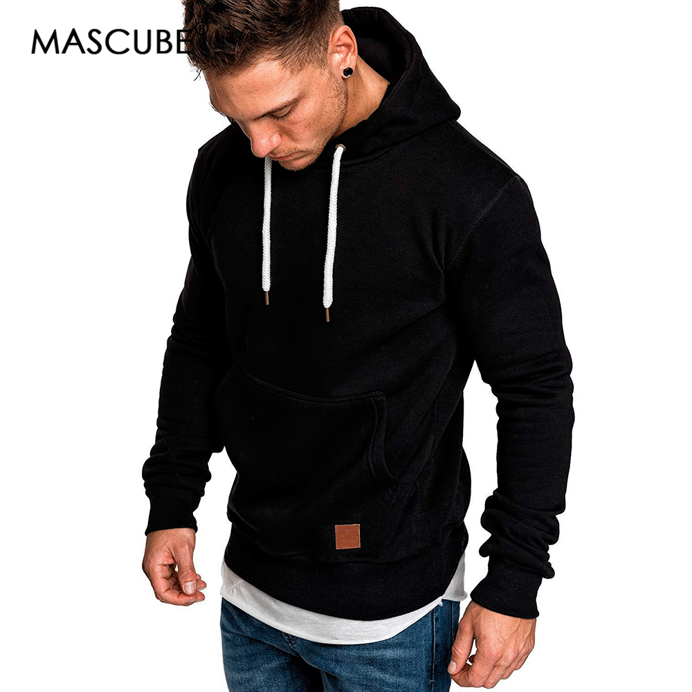 MASCUBE Men 2019 Long Sleeve Autumn Winter Casual Jackets Hoodies Top Fashion Solid Tracksuits Sweatshirts Hoody Men Clothes