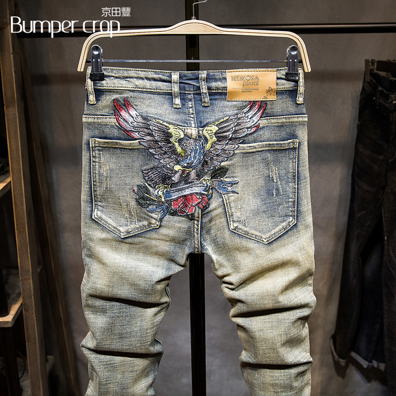 Bumpercrop eagle man pants embroidery jeans designer skinny summer knee length men's jeans shorts denim street wear hip hot icon