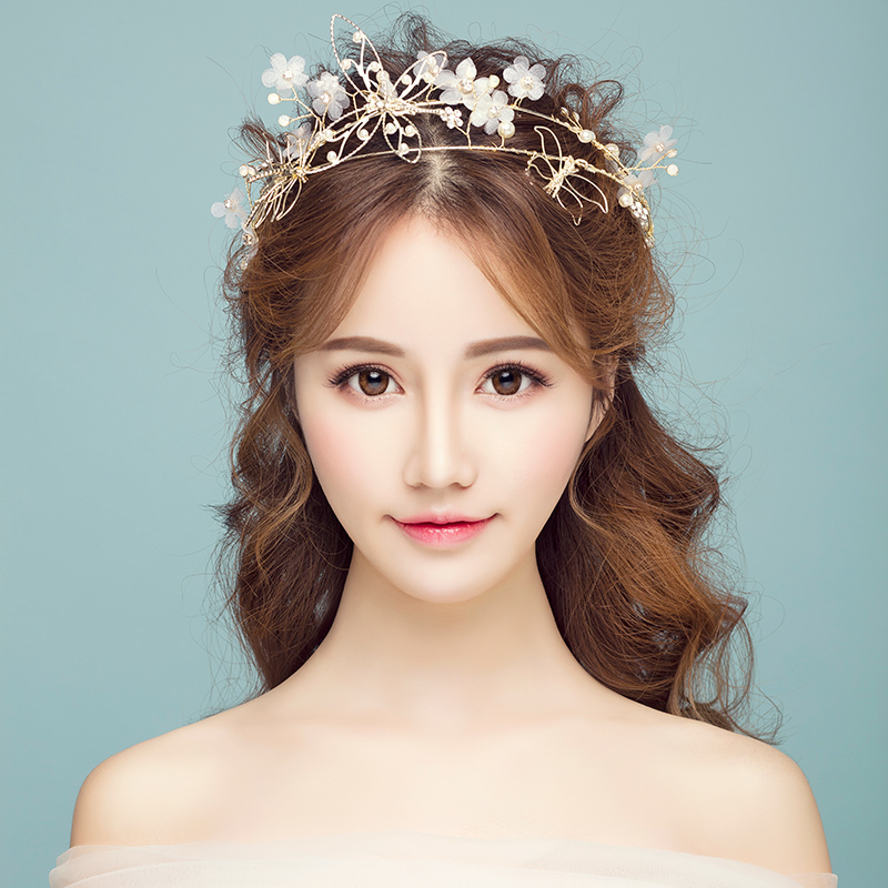Princess Wedding Hairstyles: Gold Color Butterfly Headband Floral Princess Crown Tiara
