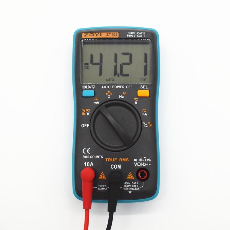 ZT102 Digital Multimeter DC AC Voltage Current Resistance Diode Capacitance Temperature Tester Automatic Polarity Identification