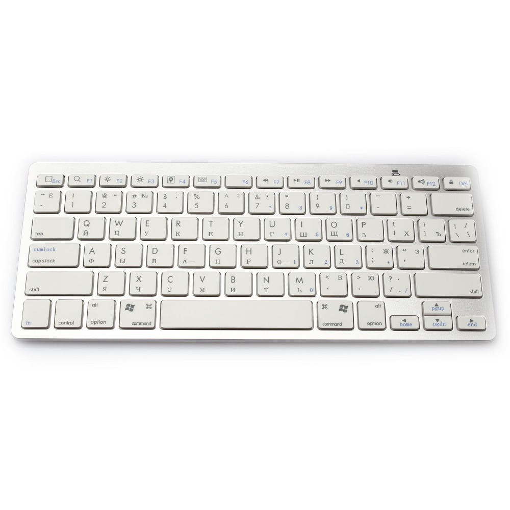 Universal inalámbrico Bluetooth Teclado ruso hebreo árabe tailandés japonés idioma para Android Windows para iPad Air 2 3 4 Mini