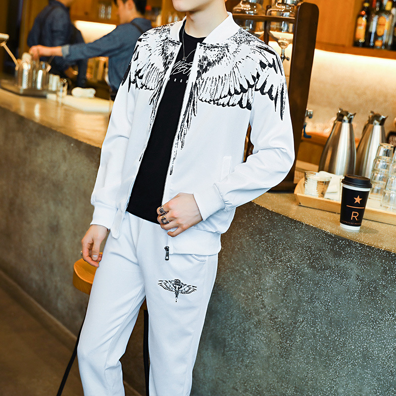 Zogaa Complet Veste Pantalon Homme Men's Cotton Korean Version Set Chaquetas Mujer 2019 Long-sleeved Jacket + Pants Casual Sports Male Wings Printed Sets