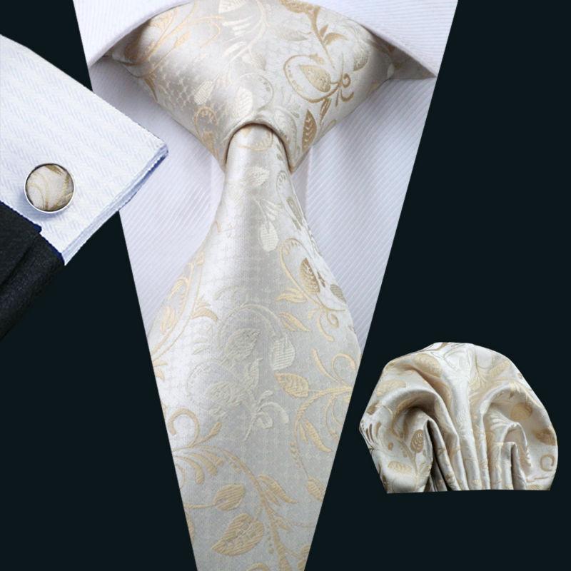 Barry.Wang Men Tie Silk Novelty 100% Silk Fashion Gravata Hanky Cufflinks Floral Ties For Men Formal Wedding Party Groom LS-1167