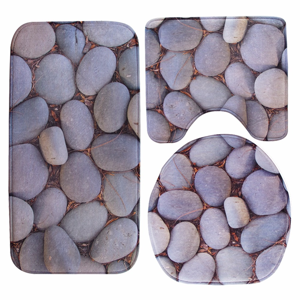 2017 New 3PCS 3D Cobblestone Dolphin Lid Toilet Seat Cover wc Pedestal Rug Bathroom Mat Carpet for Household Car Seat restroom