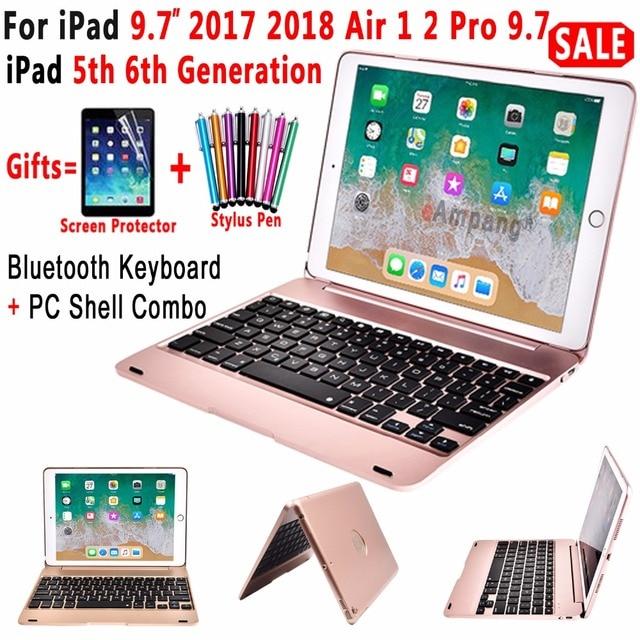 Tampa Flip Top para A Apple Novo iPad 9.7 2017 2018 6th Geração 5th Caso Teclado Sem Fio Bluetooth para o Ar iPad 1 2 5 6 Pro 9.7