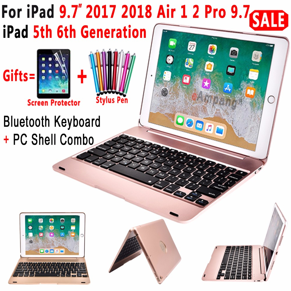 Top Flip Cover for Apple New iPad 9.7 2017 2018 5th 6th Generation Wireless Bluetooth Keyboard Case for iPad Air 1 2 5 6 Pro 9.7