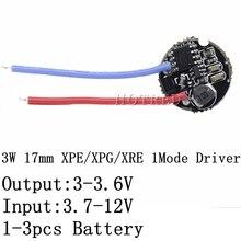 1 قطعة 5 قطعة 3 واط LED سائق 17 مللي متر 3.7 12 فولت تيار مستمر 1 وضع مصباح ليد جيب سائق ل كري XRE Q5/XPE/XBD XB D كل نوع من 3 واط مصباح ليد مصباح
