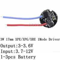 1 Uds 5 uds 3W Controlador LED 17mm 3,7-12 V CC 1 modo LED controlador de linterna para CREE XRE-Q5/XPE/XBD XB-D todo tipo de lámparas LED de 3W