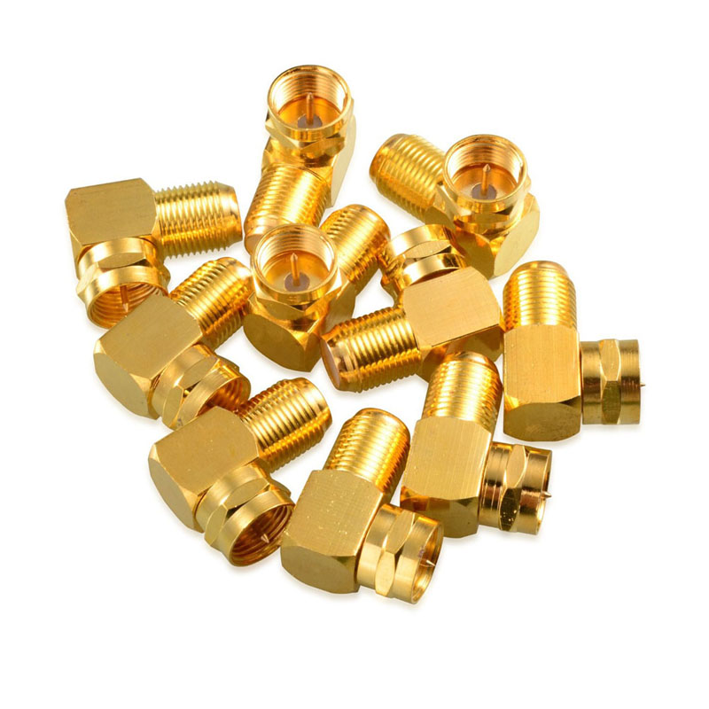 5 pcs Right Angle F-Type Male to Female Coaxial RG6 Adapter Gold Plated -- ALI88