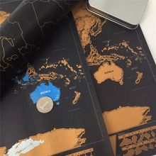 Deluxe blow Map Personalized World  Map Mini Foil Layer Coating Poster for home decor