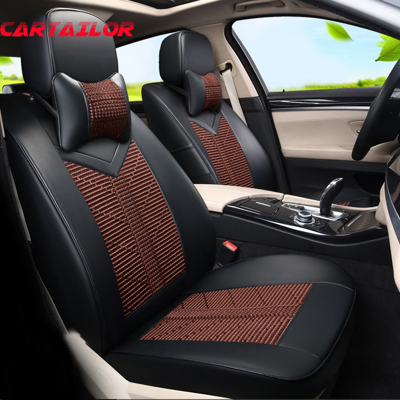 CARTAILOR New Cover Seats Custom Fit for Toyota Fortuner Car Seat Cover Leather & Ice Silk Seat Covers for Cars Seat Protectors