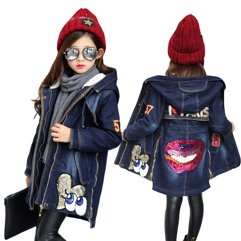 2017 brand autumn fashion cartoon girls sequin denim jacket kids coat long hooded coat for teenager 10 13 Y child roupa menina цены онлайн