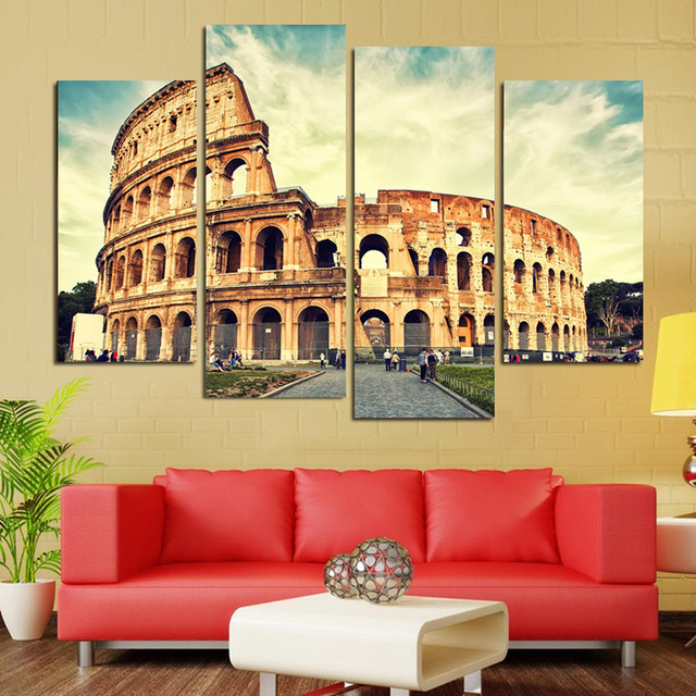4 Panel Roman Colosseum Modern Home Decor Canvas Painting Art Wall ...