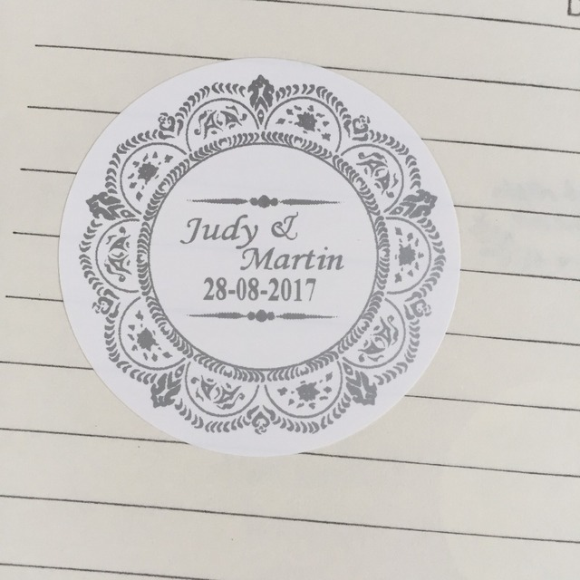 90 personalized custom vintage wedding circle round white stickers envelope seals