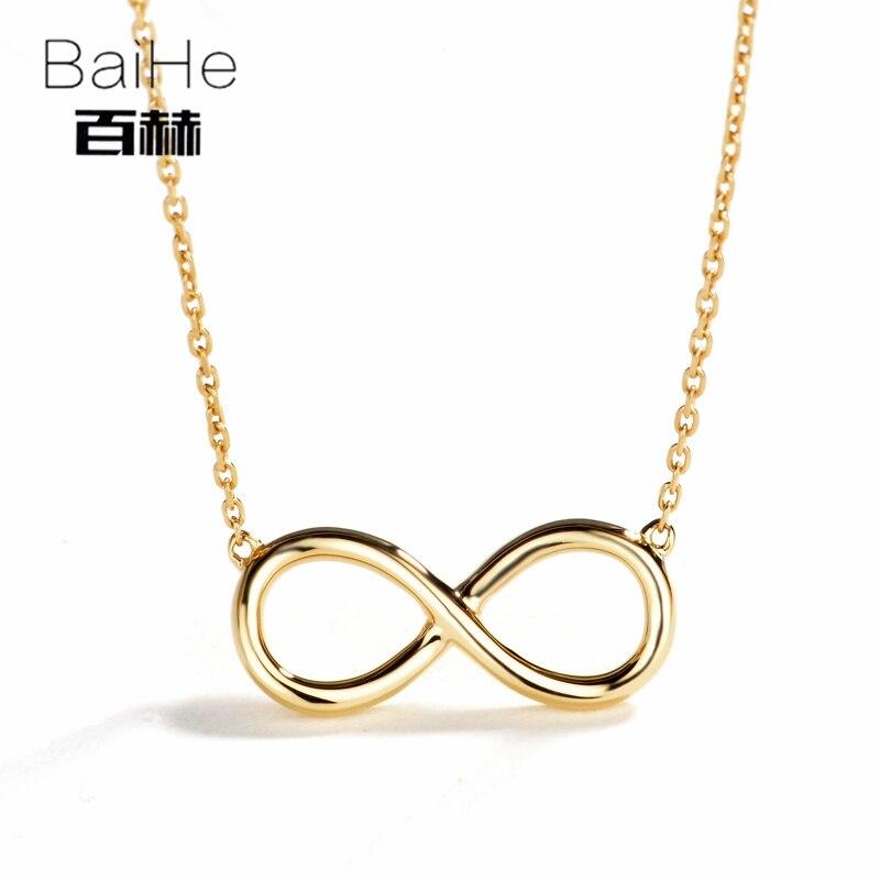 BAIHE Solide 14 K Or Jaune de Fiançailles Certifié Femmes À La Mode Fine Jewelry GUFT Colliers