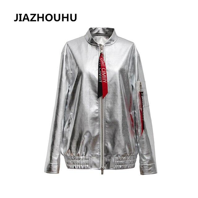 39c3f2a786f Women Bomber Jackets 2017 PU Leather Spring Jacket Silver Coats O Neck  Cardigan Famale Jacket Fashion