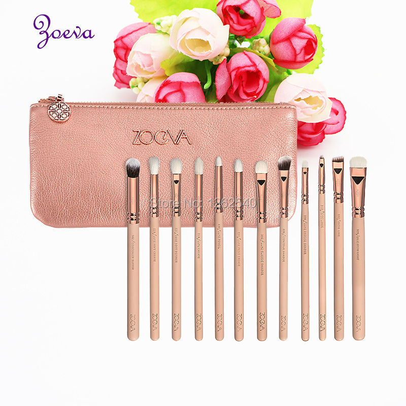 Products Zoeva 12 Pieces Profession Eye Makeup Brushes Kit Pink Handle face Rose Golden Ferrule With Microfiber bristles
