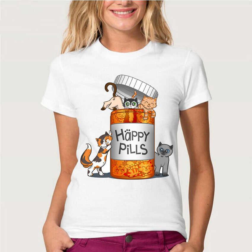 Nieuwe Harajuku Gelukkig Pillen Kitten T-shirt Vrouwen Korte Mouwen Leuke Kat Ontwerp Casual Wit Tops Zomer Mode Tees Dames T-shirt