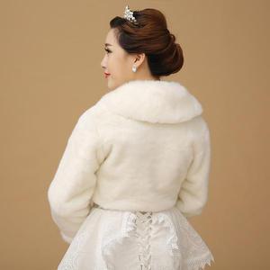 Image 4 - Yeni Bolero kadınlar Faux kürk Stoles uzun kollu yüksek kaliteli kürk Bolero ceket gelin pelerinler kış düğün ceket kürk Bolero OJ00192