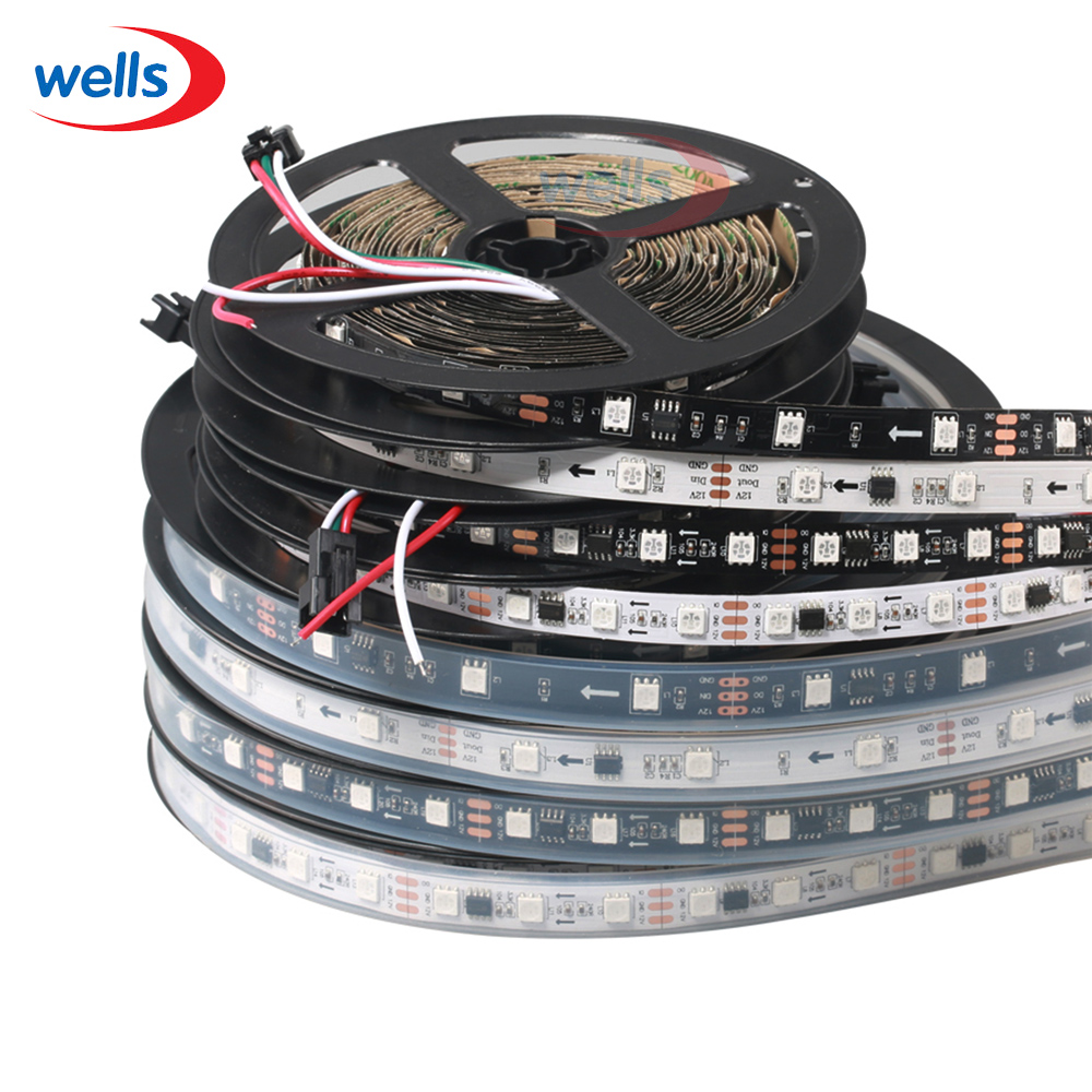 WS2811 жолағы 5м 30/48/60 led / m, 10/16/20 дана ws2811 ic / метр, DC12V White / Black PCB, 2811 led strip