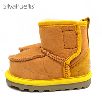 SilvaPuellis Genuine Leather Boy Girl Children Snow Boots Rubber Winter Shoes Warm Little Kids Boots Ankle