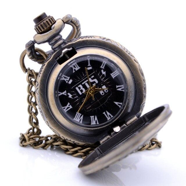 Antique Small Size BTS Bronze Quartz Pocket Watch Mens Womens Necklace Chain Pendant Analog Watch Gift Kids Toy relogio de bolso