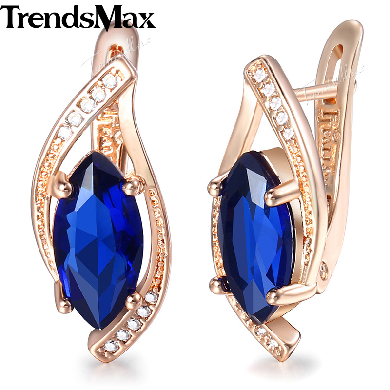 Trendsmax Blue Stone Leaf Earrings For Women Girls 585 Rose Gold Cubic Zirconia Stud Earrings Women's Fashion Jewelry KGE136 pair of stylish rhinestone palm leaf stud earrings for women