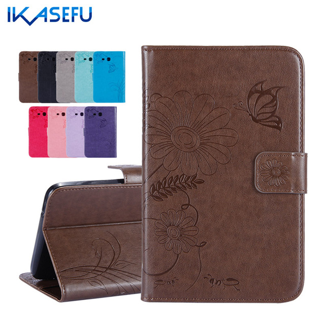 IKASEFU Tablet Cover For Samsung Galaxy Tab 3 Lite 7.0 inch T110 Coque PU Leather Fundas Filp Stand Case for Galaxy Tab 3 Lite 7