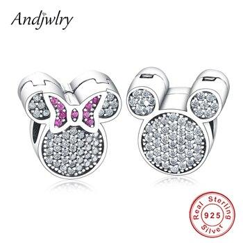 f8ef825bad14 Plata esterlina 925 dibujos animados Mickey Minnie encantos tapón Clip de  Beads Fit Pandora pulsera de encanto 925 pulsera de plata Original de la ...