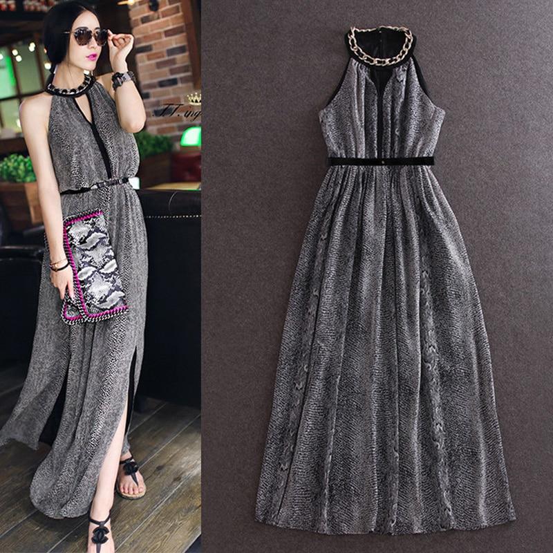 2015 New Fashion Summer halter dress Sexy Women Long dress Lady Open Side Split dress Long Chiffon Maxi dress женское платье dress new brand 2015 summer women dress