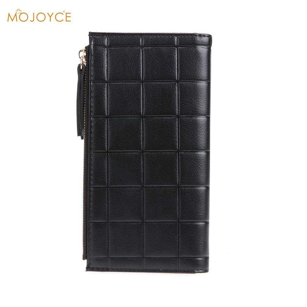 Women PU RFID Long Wallet Anti-magnetic Anti-theft Plaid Wallet Female Clutch Ladies Phone Purse Coin Credit Card Holder