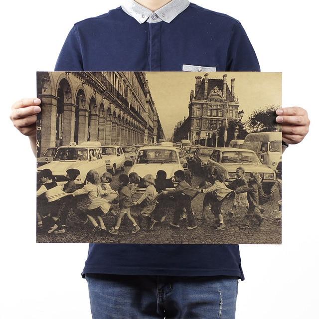Париж беспризорных детей пересечения дороги / классические фотографии / живописи 51 x 35.5 см / высокое качество домашнего декора бумаги