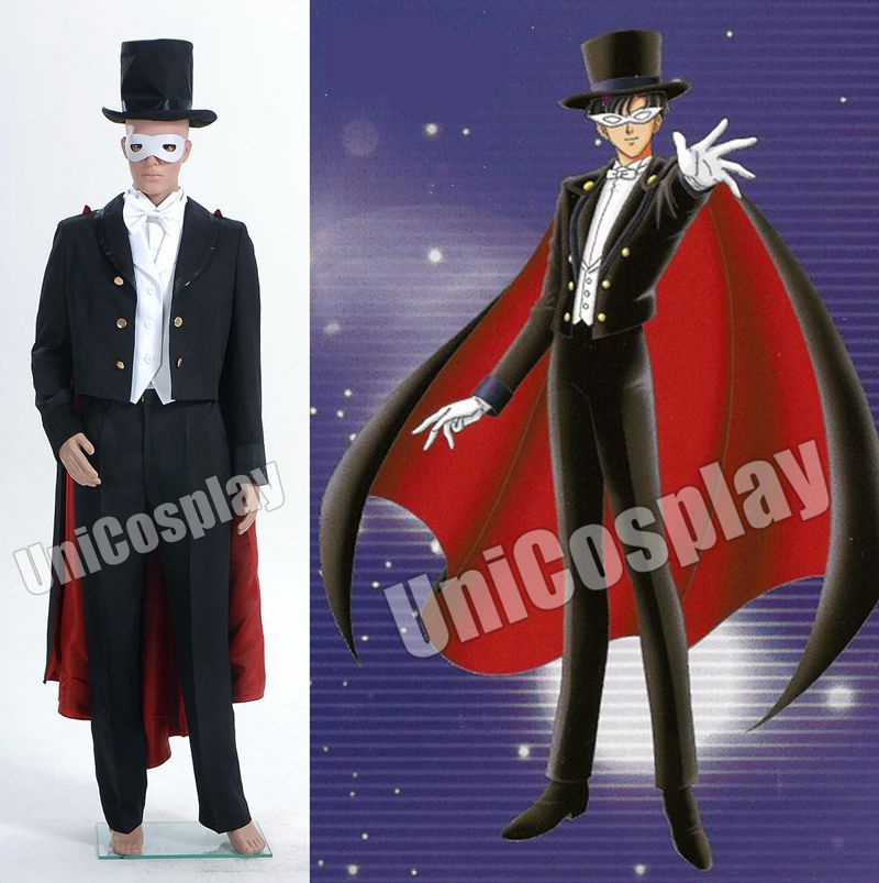Sailor Moon Mamoru Chiba Tuxedo Cosplay Costume Men's Party Suit black Coat Pants Hat White Vest Shirt Eye Mask Full Set