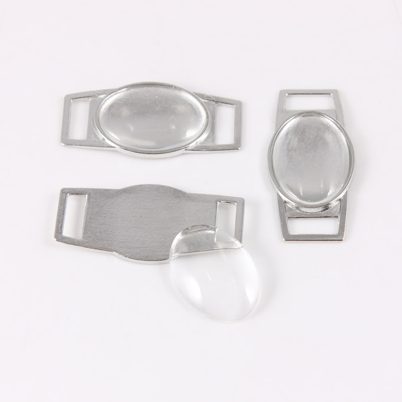 100pcs Blank Oval Shoelace Charms Paracord Charms with 18 25mm 13 18mm Clear Glass Cabochon Wholesale