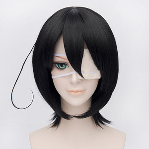 Image 2 - Another Mei Misaki Wigs Black Short Heat Resistant Synthetic Hair Cosplay Wig + Eye Patch choose