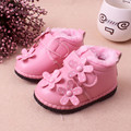 2016 Winter New Soft Sole Flower Infant Baby shoes Thicken Wool Warm Leather Shoes For Girl Cute Toddler Shoes Kids 1-3years