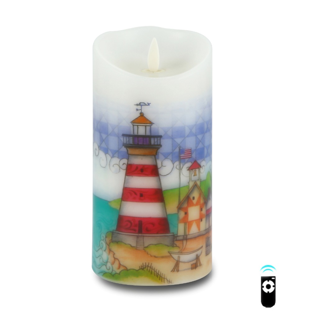 Ksperway Flameless Real Wax LED Candle with Dancing Flame Blowing Control Timer and Remote 3.5*7 inch Lighthouse