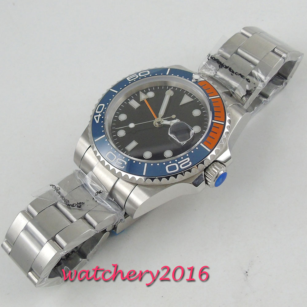 Parnis 40mm Mechanical Watches GMT Sapphire Crystal Man Watch Diver Watch Automatic relogio masculino Role Luxury Watch Men in Mechanical Watches from Watches